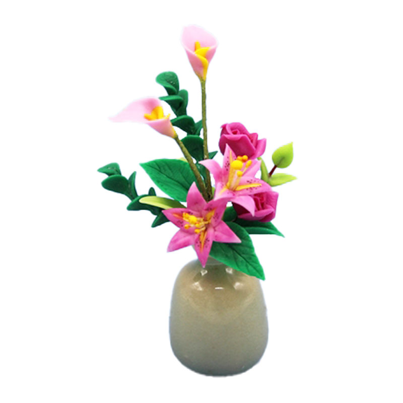 Dolls House Pink Roses Lilies in Vase Flower Display Miniature Decor Accessory
