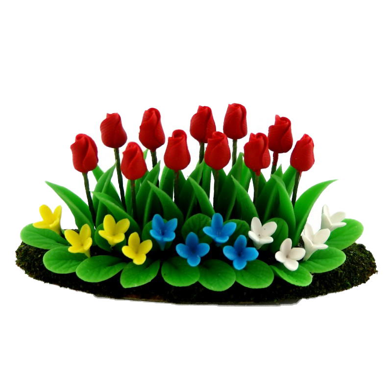 Dolls House Red Tulips Flowers in Ground Grass Miniature 1:12 Garden Accessory
