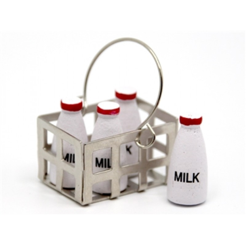 Dolls House Miniature Door Step Kitchen Country Store Accessory Crate of Milk