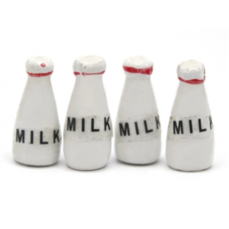 Dolls House Bottles of Milk Kitchen Shop Store Accessory 1:12 Scale