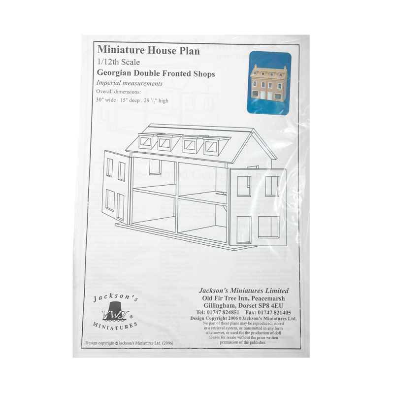 Dolls House Plans Build Your Own 1:12 Georgian Double Fronted Shops