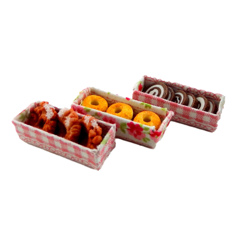 Dolls House Display Boxes of Donuts & Cakes Miniature Bakery Shop Accessory