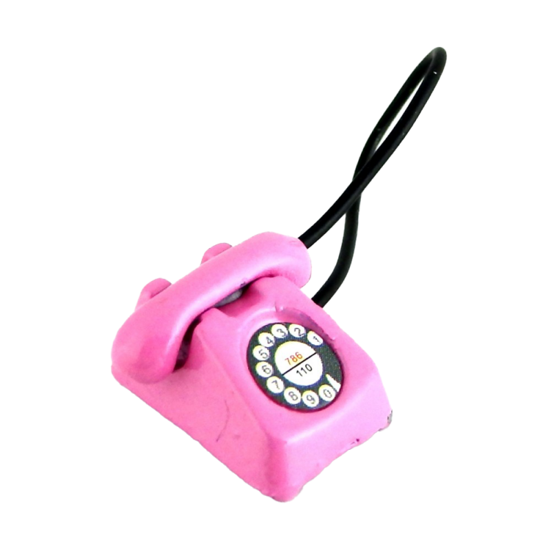 Dolls House Pink Retro Telephone Phone Miniature Office Hall Bedroom Accessory