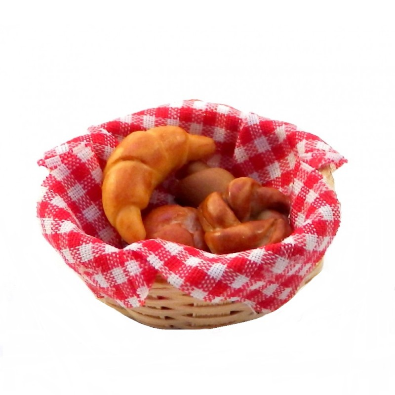 Dolls House Basket of Croissants & Rolls on Red Gingham Miniature 1:12 Accessory