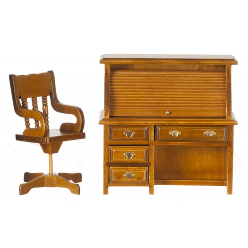 Dolls House Walnut Roll Top Library Desk & Chair 1:12 Office Study Furniture Set