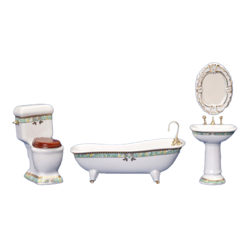 Dolls House Green Gold Bathroom Suite with Footed Bath Tub Furniture Set