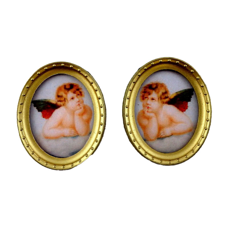 Dolls House Miniature 2 Cherub Pictures Painting in Oval Gold Frame