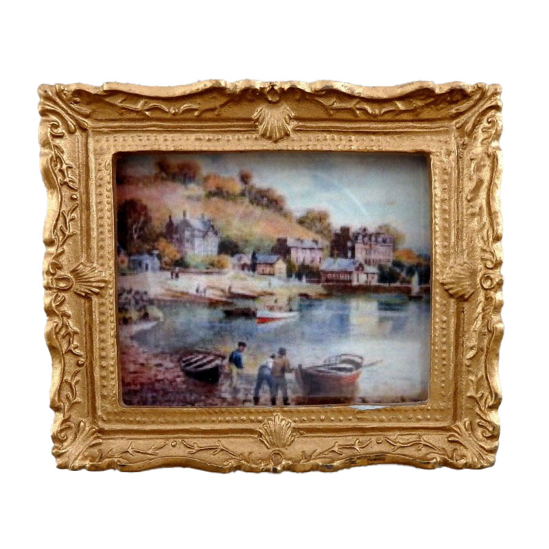 Dolls House Harbour Scene Picture Painting Gold Frame Miniature