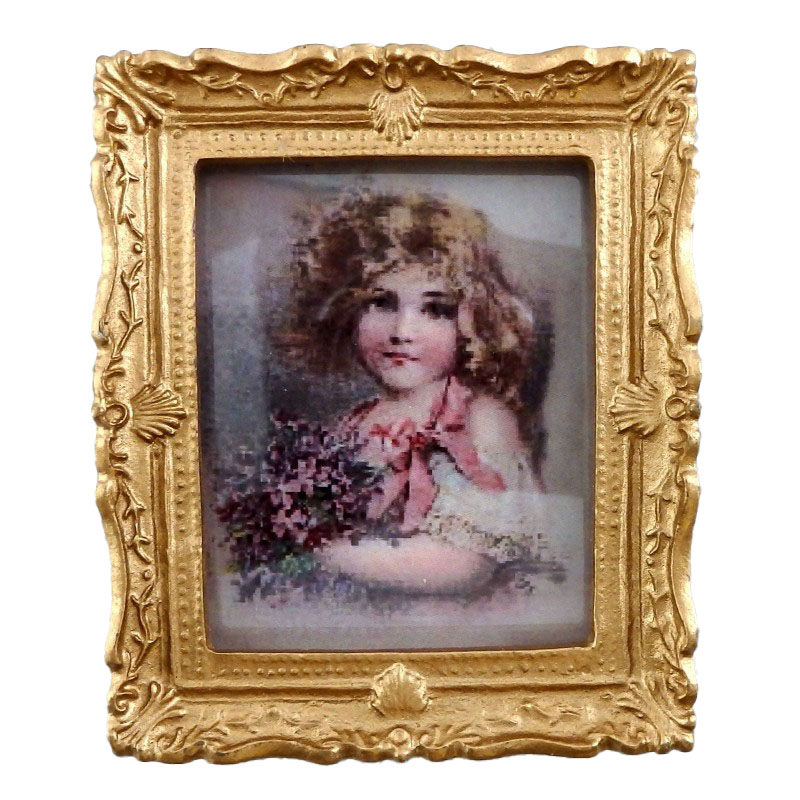 Dolls House Victorian Young Girl Painting Gold Frame Miniature Picture Accessory