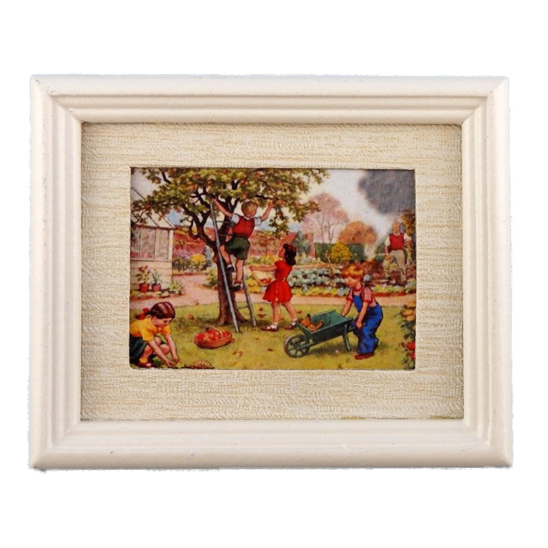 Dolls House Miniature Children in Garden Painting White Frame