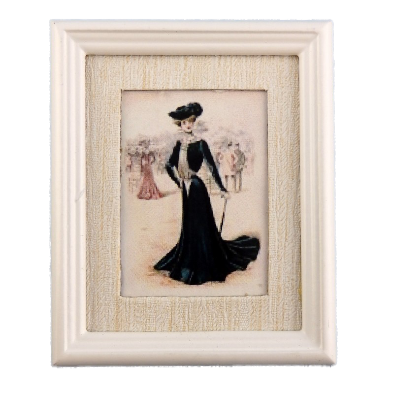 Dolls House Miniature Accessory Lady in Black Painting White Frame