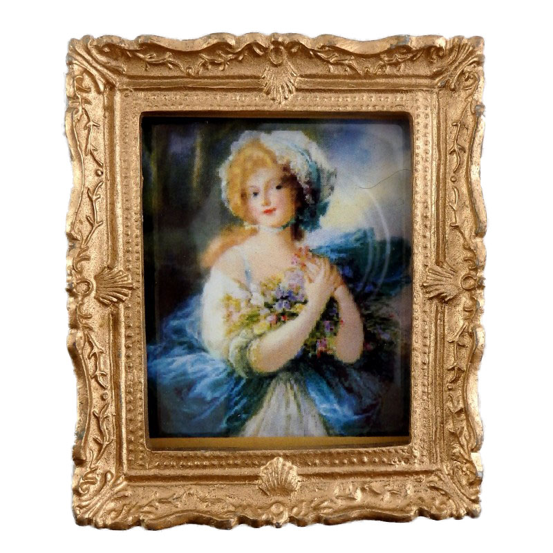 Dolls House Miniature Accessory Blue Lady Painting Gold Frame
