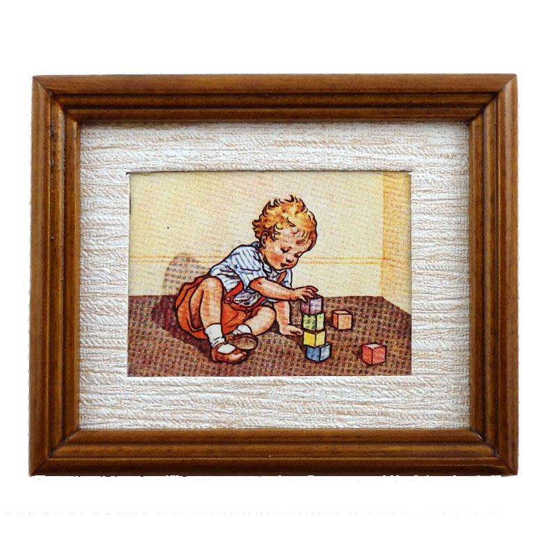Dolls House Learning to Build Painting Walnut Frame Miniature