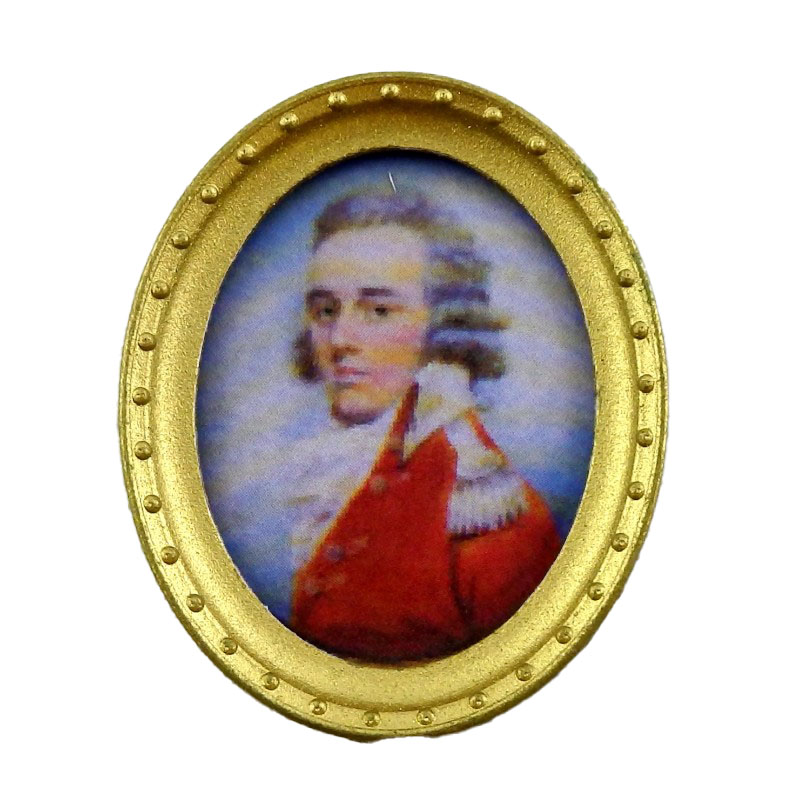 Dolls House Miniature Gentleman Portrait Picture in Oval Gold Frame