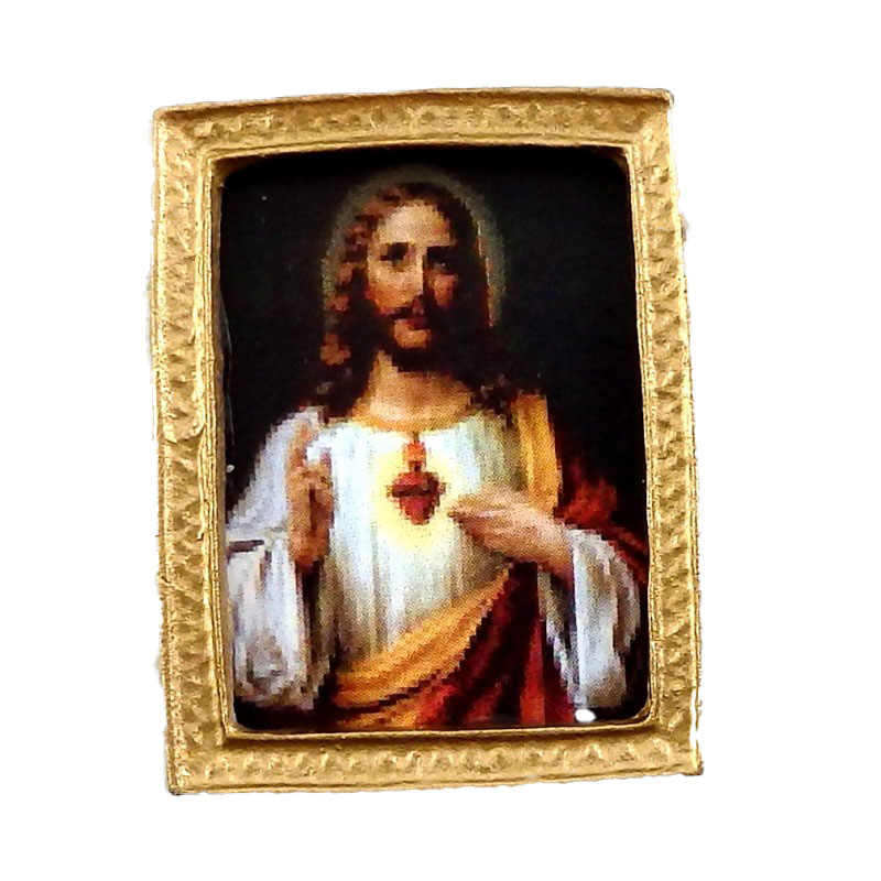 Dolls House Miniature Religious Picture Painting in Gold Frame