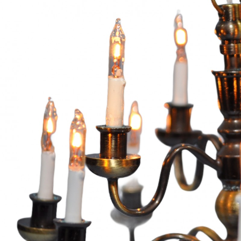 Dolls House Nostalgic 12 Arm Candle Chandelier Miniature Electric
