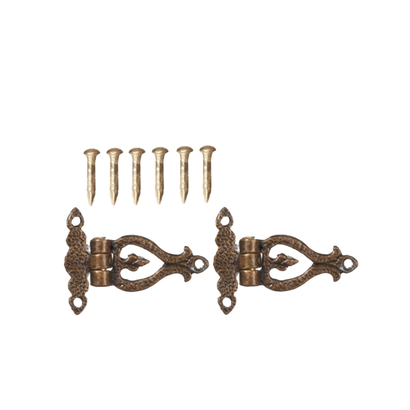 Dolls House Small Ornate T Hinges Antique Gold Miniature DIY Fittings Hardware