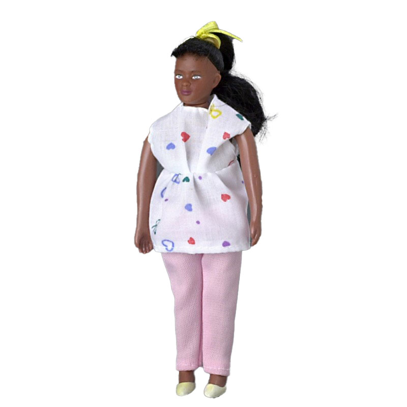 Dolls House African American People 1:12 Black Mother to be Mum Pregnant Lady