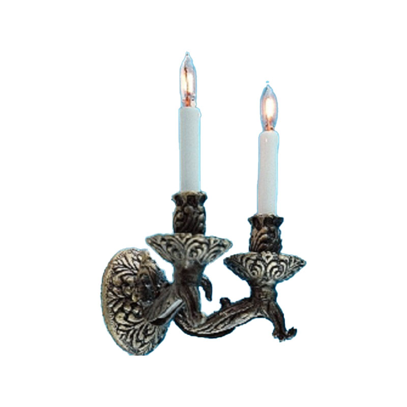 Dolls House Double Candle Stick Wall Sconce 12V Tudor Light Electric Lamp
