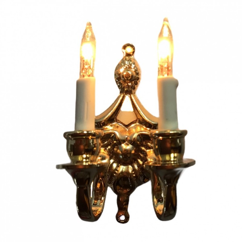 Dolls House Fancy Victorian Double Candle Wall Sconce Gold 12V Electric Light