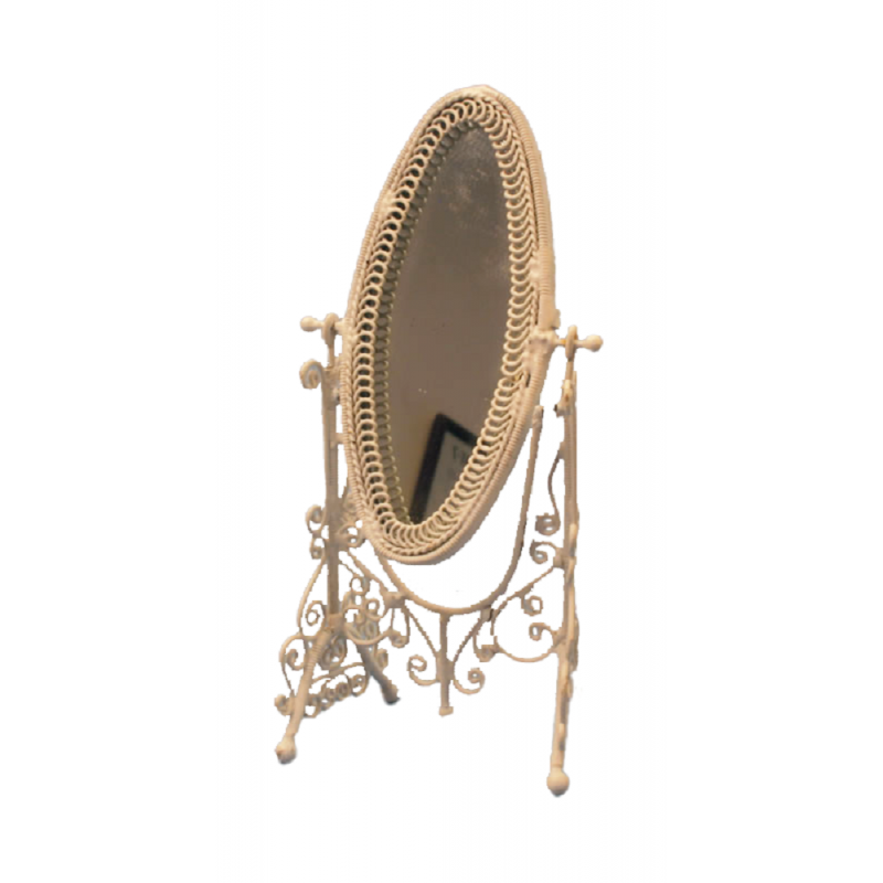 Dolls House White Wire Cheval Dressing Mirror Miniature Bedroom Furniture 1:12