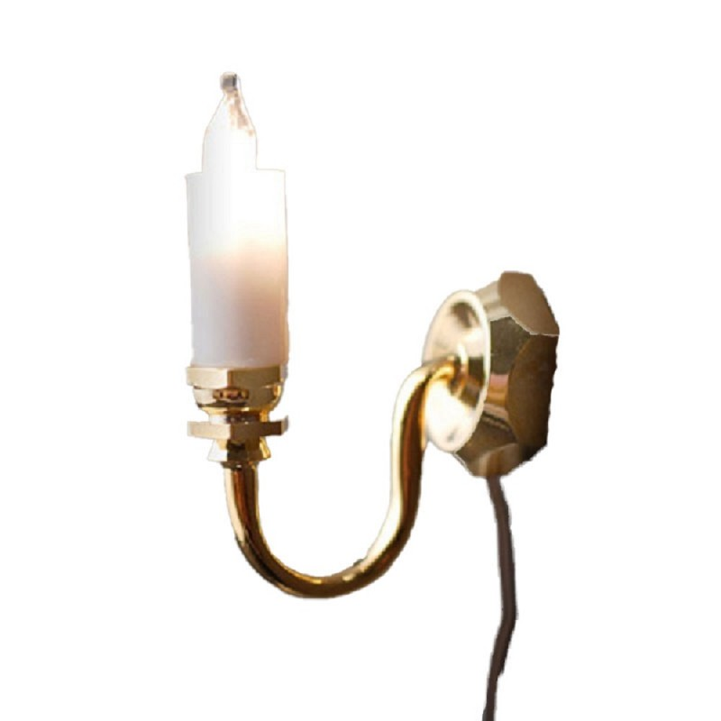 Dolls House Brass Single Candle Wall Light 12V Sconce Electric Lighting
