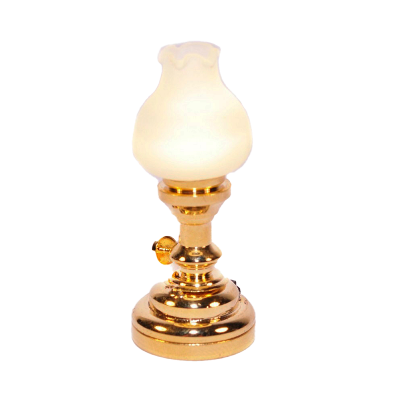 Dolls House Brass Oil Lamp Frosted Tulip Shade LED Battery Lighting 1:12