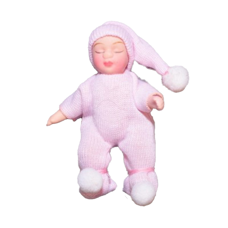 Dolls House Sleeping Baby in Pink Pompom Suit Miniature 1:12 Porcelain People