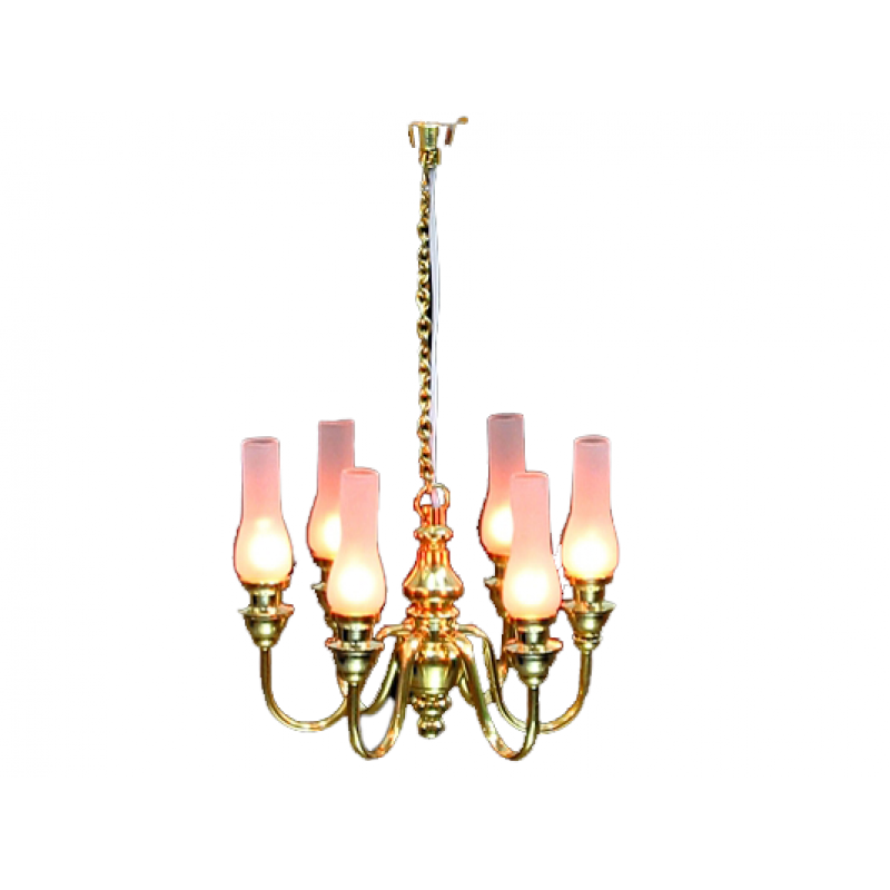 Dolls House 6 Arm Chandelier Frosted Hurricane Shades 12V Electric Lighting