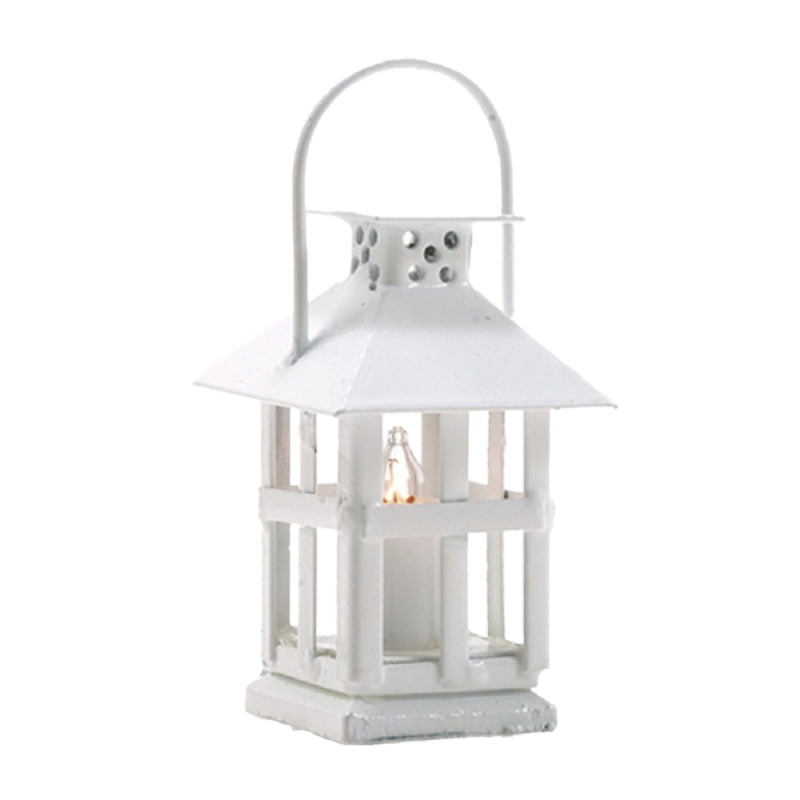 Dolls House White Lantern with Candle Light 12V Lamp Electric Lighting