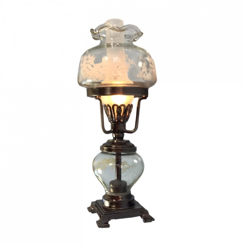 Dolls House Lamp Antique Silver Clear Glass 12V Electric Lighting