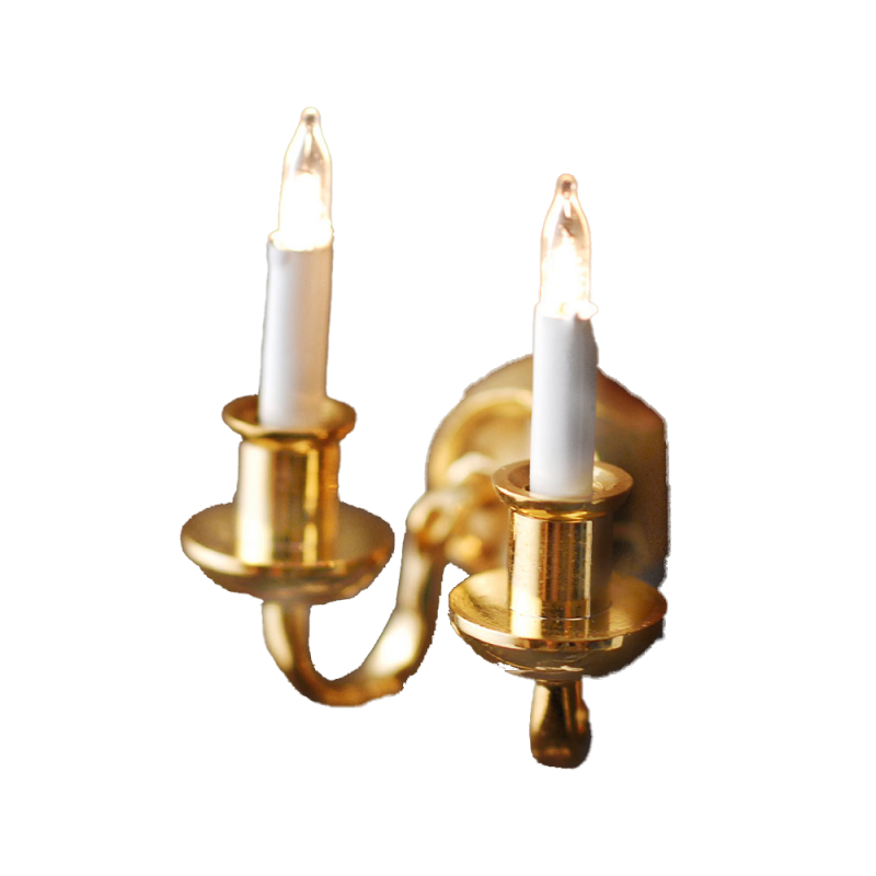 Dolls House Elite Double Brass Wall Lamp Candle Bulbs Electric Miniature Light