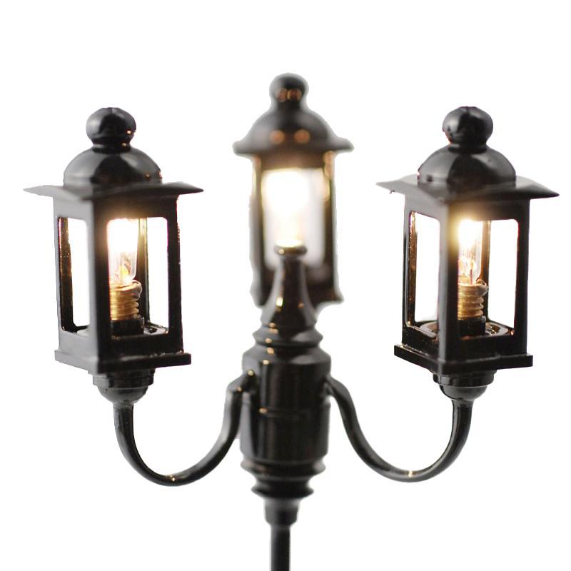 Dolls House 3 Lantern Street Lamp Miniature Garden Light 12V Electric Lighting