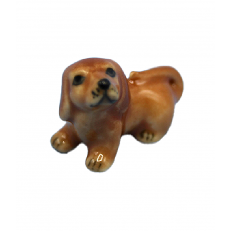 Dolls House Small Dachshund Sitting Pet Puppy Dog Miniature Accessory 1:12