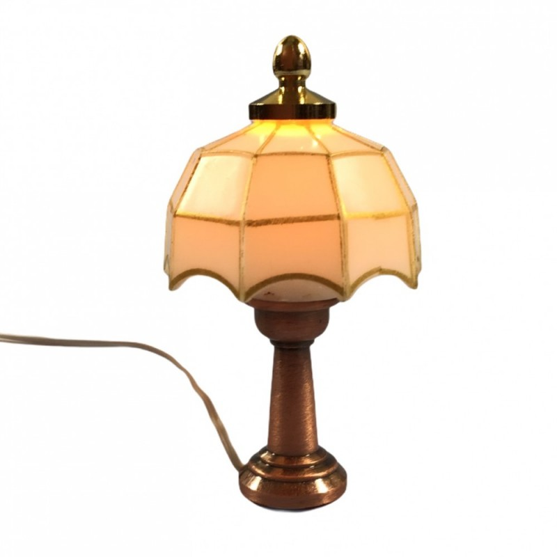 Dolls House Bronze Table Lamp White & Gold Tiffany Shade 12V Electric Lighting