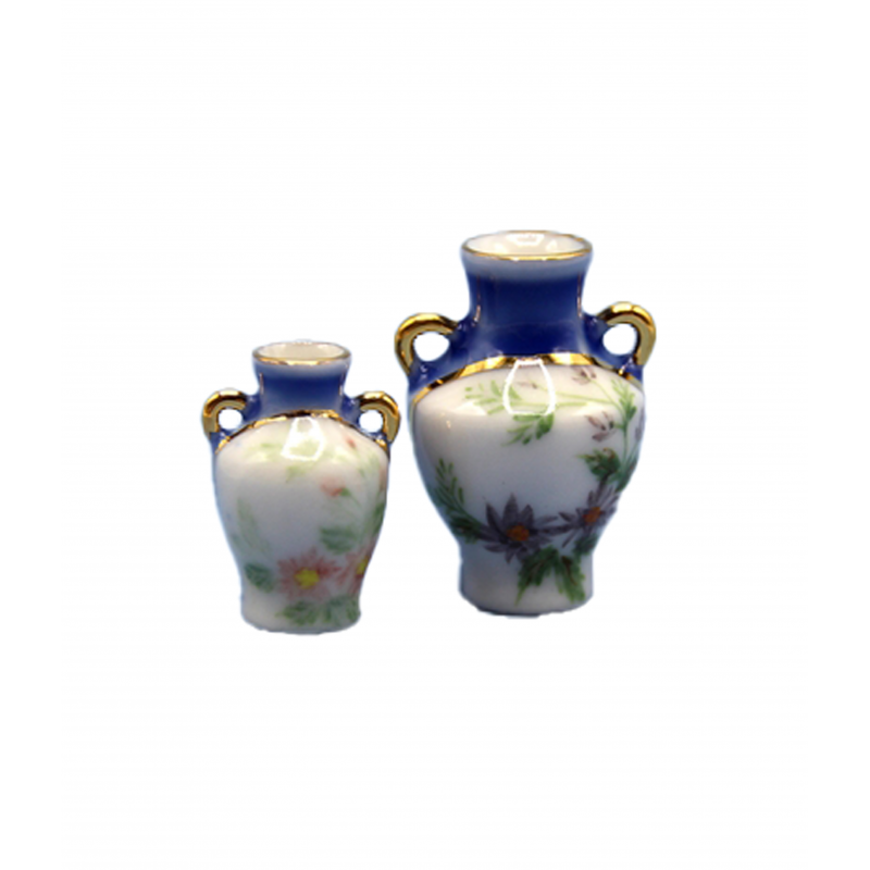 Dolls House 2 Blue Floral Painted Vases Miniature Ornament Accessory 1:12 Scale