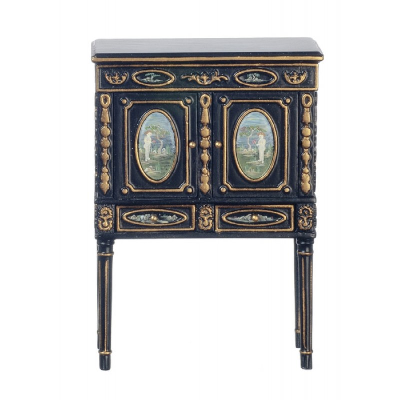 Dolls House Black & Gold Hand Painted Chinoise Cabinet Miniature JBM Furniture