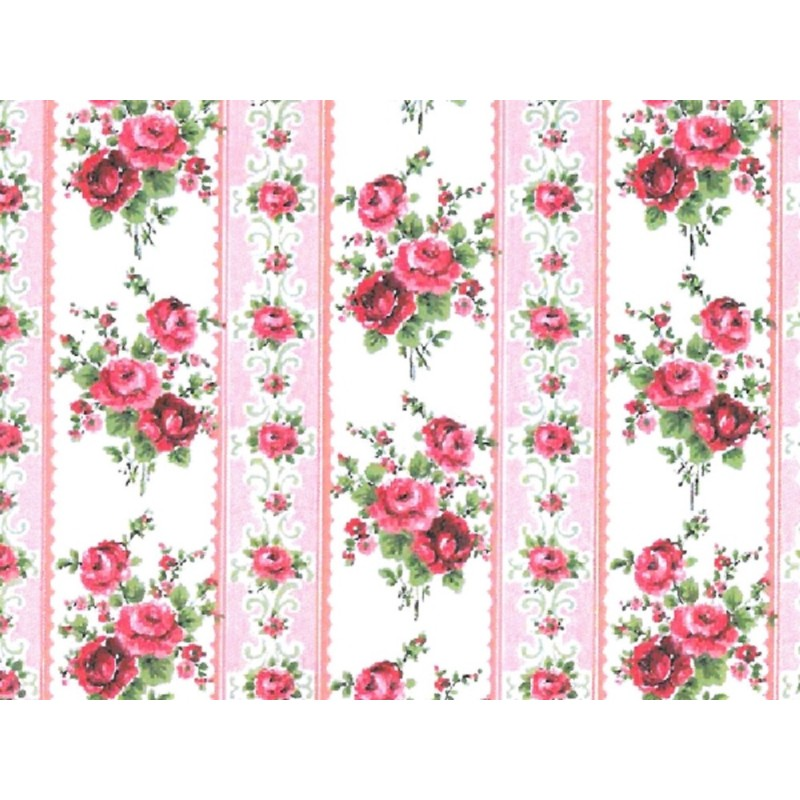 Dolls House Large Pink Roses Wallpaper Miniature Print 1:12 Scale