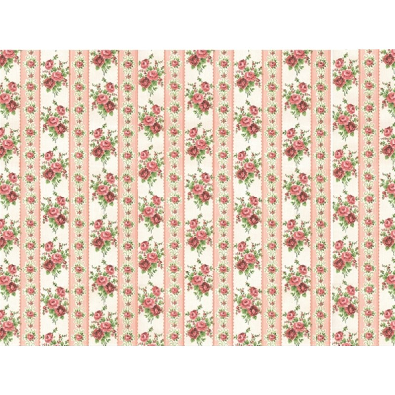 Dolls House Small Pink Roses Wallpaper Miniature Print 1:12 Scale