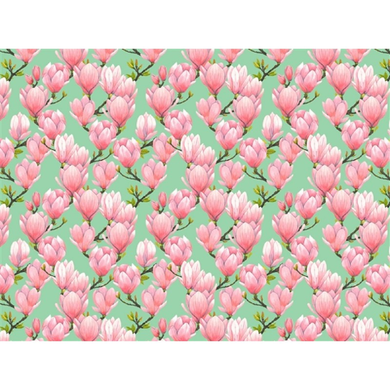 Dolls House Green Wallpaper with Pink Magnolia Flowers Miniature 1:12 Print
