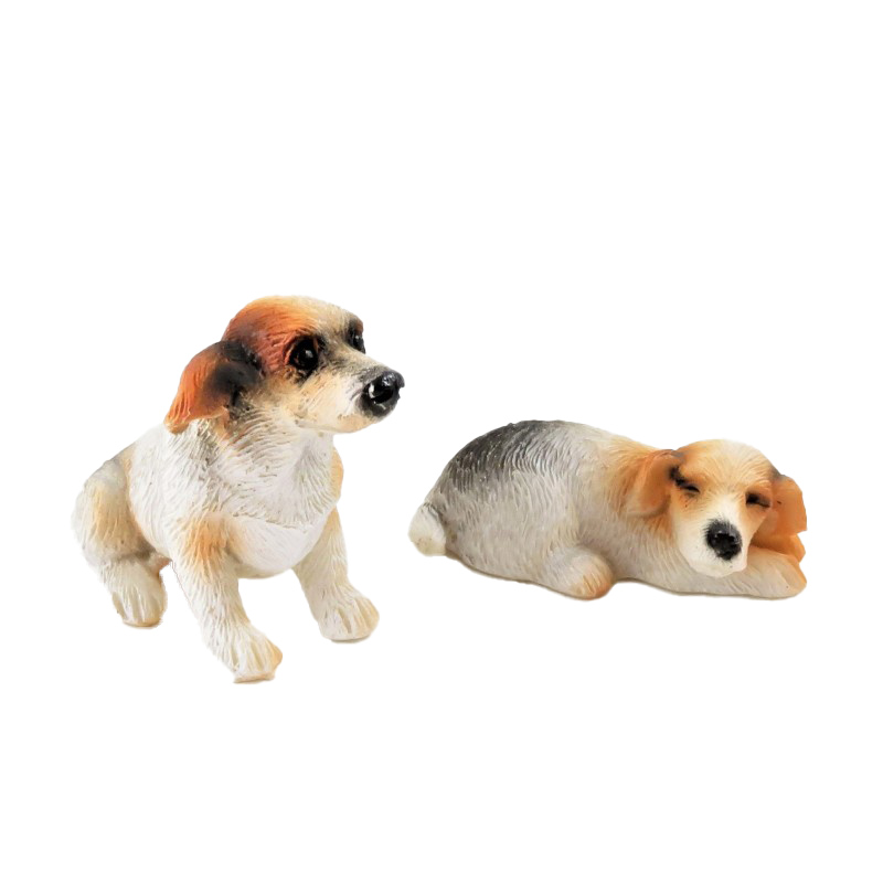 Dolls House Jack Russel Dogs Sitting & Lying Down Miniature Pet 1:12 Accessory