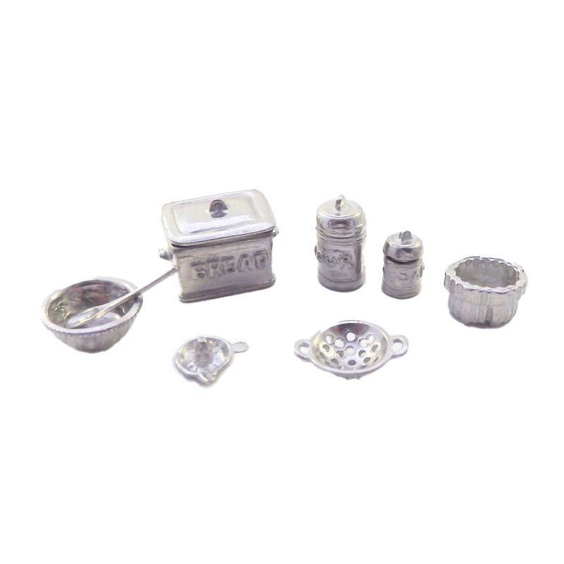Dolls House Pewter Kitchen Accessory Set 1:24 Scale Miniature