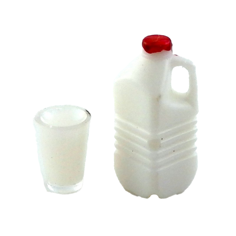 Dolls House Bottle Carton and Glass of Milk Miniature 1:12 Kitchen Accessory