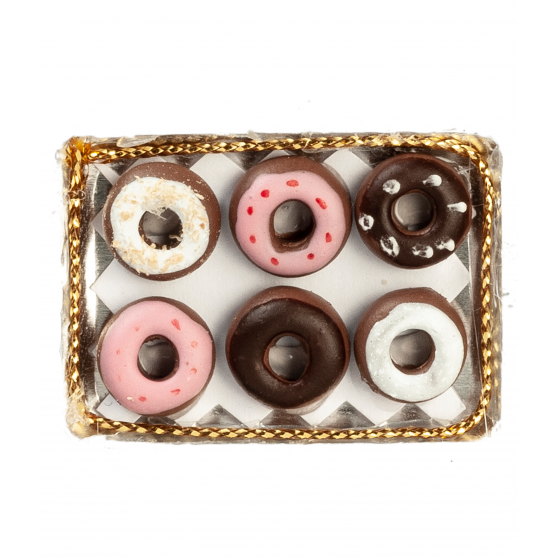 Dolls House 6 Donuts on a Tray Miniature Bakery Shop Cafe Food Accessory 1:12
