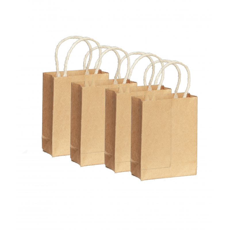 Dolls House 4 Brown Paper Shopping Bags Miniature Grocery Shop Store Accessory