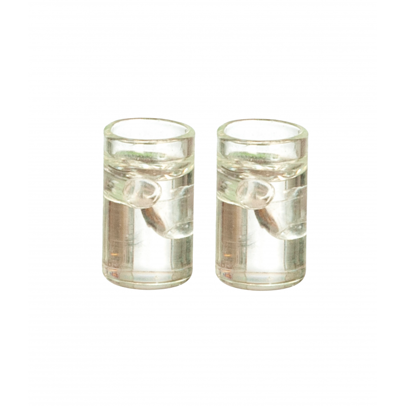 Dolls House 2 Glasses of Soda with Ice Miniature Tumblers Dining Pub Accessory