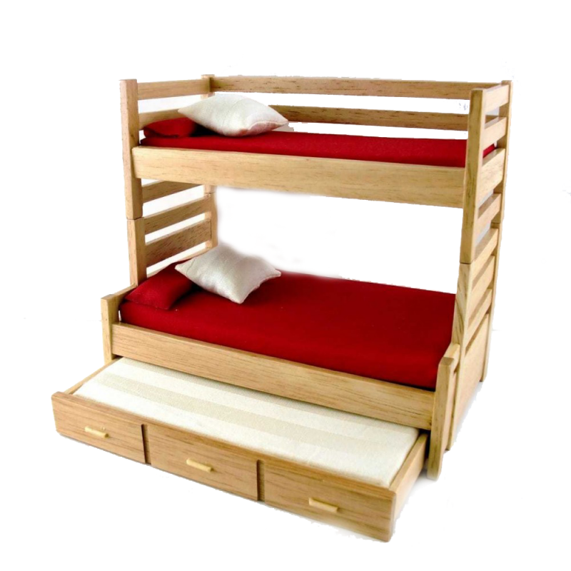 Dolls House Oak High Sleeper Bunk Beds with Trundle Bed Bedroom Furniture