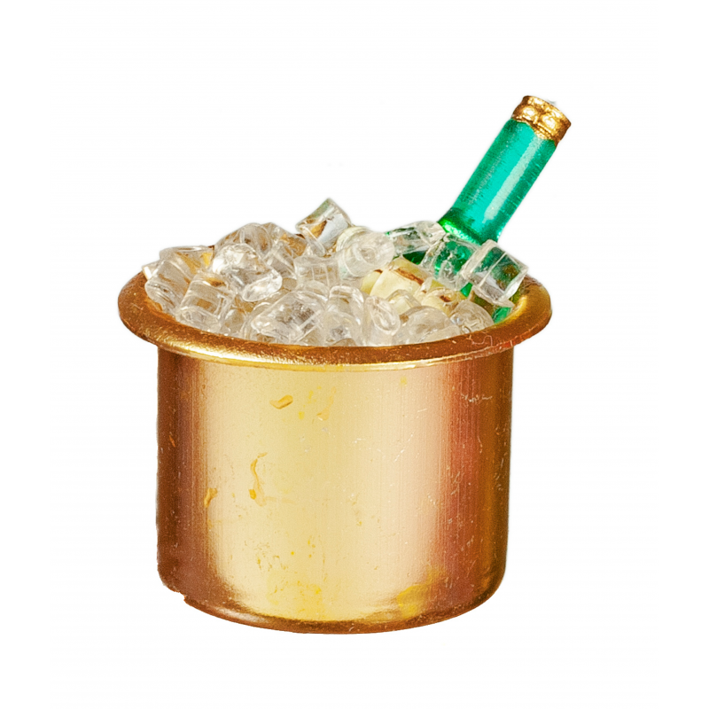 Dolls House Wine Bottle in Gold Ice Bucket Miniature Pub Dining Accessory 1:12