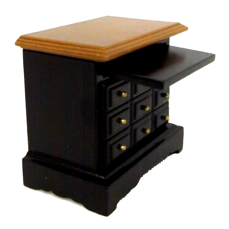 Dolls House Black Walnut Bedside Chest Nightstand Miniature Bedroom Furniture