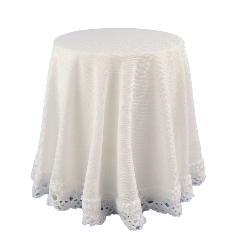 Dolls House Round Skirted Table with White Tablecloth Miniature 1:12 Furniture